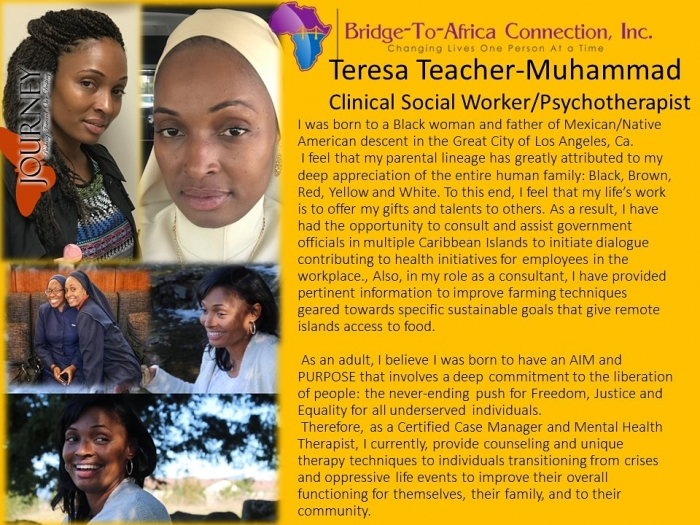 1 Teresa Teacher - Muhammad Clinical Social Worker: Psychotherapist